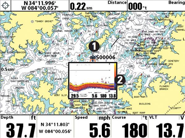 Sonar Snapshot of Waypoint on Map