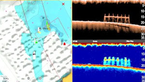 charts and sonar split screen - raymarine a78